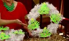 Ideas for a Christmas Wreath With Children's Crafts on it