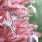 Flocked trees add whimsy to a contemporary design.