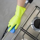 Mix a paste of baking soda and hydrogen peroxide to help remove stubborn stove grime.
