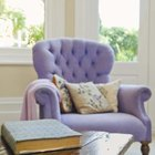 A purple statement piece adds personality to a living room.