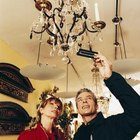 Ask the antique dealer for more information on the chandelier.