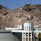 Water turbines and generators produce hydropower; these turbines are at the Hoover Dam.