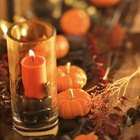 Miniature pumpkins and gourds with candles give a natural look.