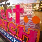 Acrylic glass paint is used for seasonal displays on storefront windows.