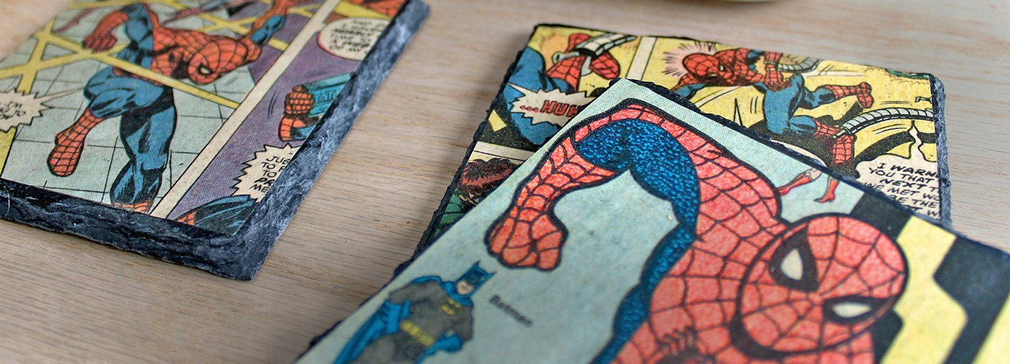 How to Decoupage Vintage Comic Books Onto Slate Coasters