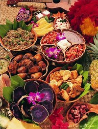 Foods from a traditional Hawaiian luau.