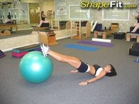 Hamstring stretch with an exercise ball