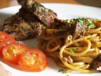 Lamb with fresh porcini pasta