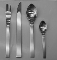Stainless flatware place setting.