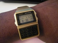 A Casio Data Bank digital wristwatch.
