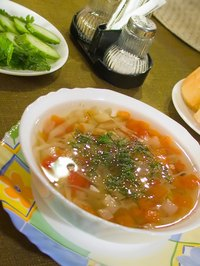 Soup can be refrigerated immediately after cooking.
