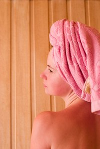 Use a sauna to steam beneficial oils into your hair and scalp.