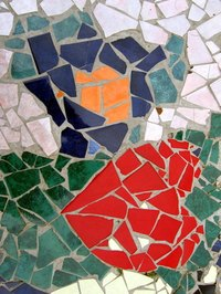 Kids can make simple mosaics from a variety of materials.
