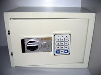 A digital keypad safe runs on batteries and protects your valuables.
