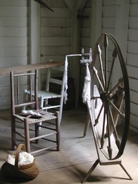 Spinning wheel used to weave your dog's hair into yarn.
