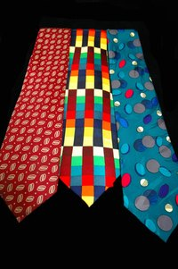 Ties undergo screen printing.