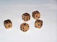 Custom-made wood dice