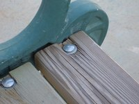 Carriage bolt used in a wood bench.