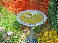 Decorate a bird bath with stone or ceramic figures.