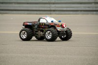 This model truck is equipped to handle rough terrain.