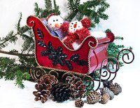 Paint your sleigh using traditional Christmas colors.