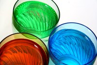 Beatifully colored liquid in glass bottles can add color and vibrancy to any decor.