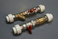 Double check valves prevent backward flow.