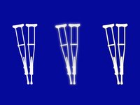 Paint aluminum crutches with a durable enamel.