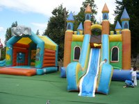 A bouncy castle can provide an income.