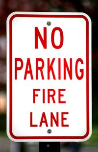 Motorists cannot park in a fire lane.
