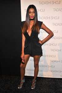 Jessica White wears a plunging neckline at Mercedes-Benz Fashion Week in New York City.