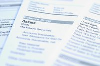 A list of assets and other sources of income are listed on a financial balance sheet