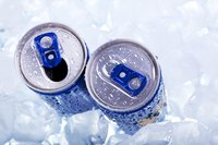 Canned drinks on ice.
