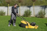 Man with lawn mower cutting grass.