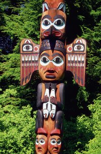 Totem poles are examples of polychrome wood.