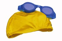 Swimming caps are made from materials such as lycra, silicone and latex.