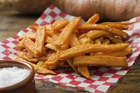 Sweet potato fries on a napkin.
