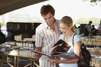 Young couple buying books