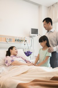 Father and daughter visiting mother in hospital bed.