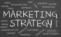 Marketing Strategy and related words on chalkboard.