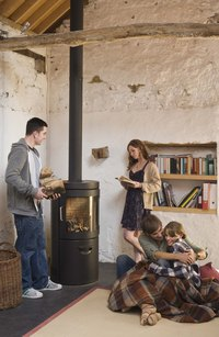 A single wood stove can heat up a small home.