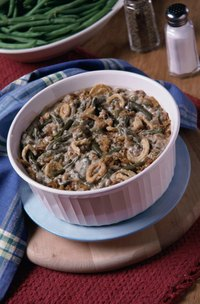 Green bean casserole is a holiday staple made with cream of mushroom soup.