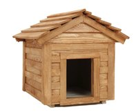 A doghouse provides shelter and comfort.