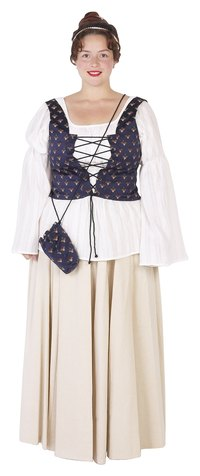 This renaissance faire-style bodice adds color to a simple outfit.