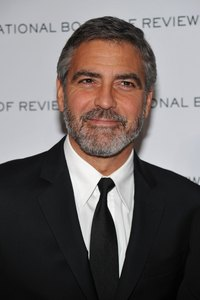 George Clooney's scruff beard is neat and well-maintained.