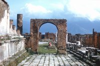 The ancient, ruined city of Pompeii was destroyed by an eruption from nearby Mt. Vesuvius.
