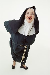 Black clothing forms the base of a quick nun costume.