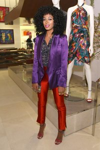 Solange Knowles pairs bright hues at the Ferragamo 5th Avenue Flagship Re-Opening.