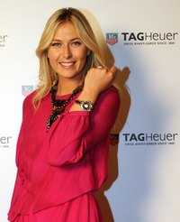 Maria Sharapova shows off a steel-and-ceramic watch in Istanbul, Turkey.