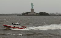 The U.S. Coast Guard enforces maritime law in domestic and international waters.